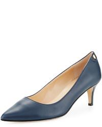 Neiman Marcus Stroll Leather Slip On Pump Blue