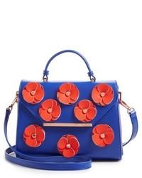 London daisii applique faux leather top handle satchel black medium 6471972