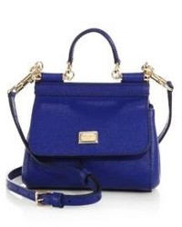 Dolce & Gabbana Sicily Micro Textured Leather Top Handle Satchel