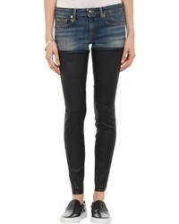 Blue Leather Skinny Jeans