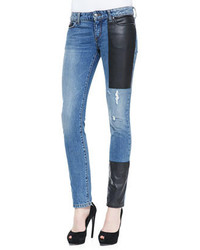 MCQ Alexander Ueen Faux Leather Patch Skinny Jeans