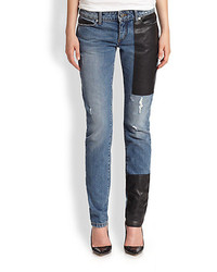 McQ by Alexander McQueen Mcq Alexander Mcqueen Leather Patched Skinny Jeans