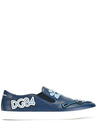 Dolce & Gabbana London Jazz Patches Slip On Sneakers