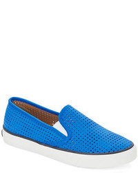 Sperry Seaside Perforated Leather Slip On Sneakers