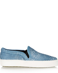 Schutz Sold Out Amisha Snake Effect Leather Slip On Sneakers