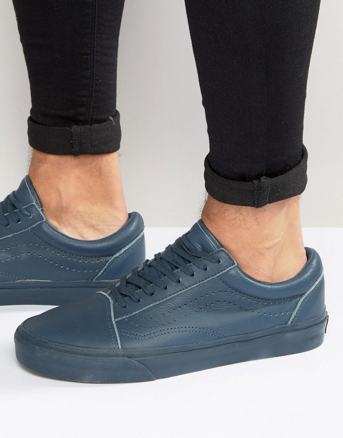 ... Vans Old Skool Leather Perf Sneakers In Blue Va2xs6jx7 ... f6f37a085