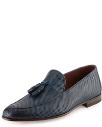 Magnanni For Neiman Marcus Perforated Leather Tassel Loafer Blue