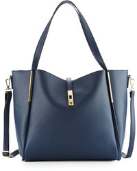 Neiman Marcus Abigail Faux Leather Tote Bag Navy
