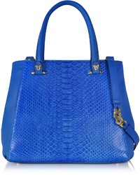 Ghibli Blue Python And Leather Tote Wdetachable Shoulder Strap