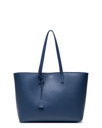 Saint Laurent Blue Shopper Leather Tote Bag