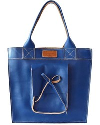 Cueropapeltijera Blue Leather Tote