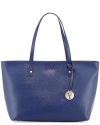 Furla Daisy Medium Leather Tote Bag Navy