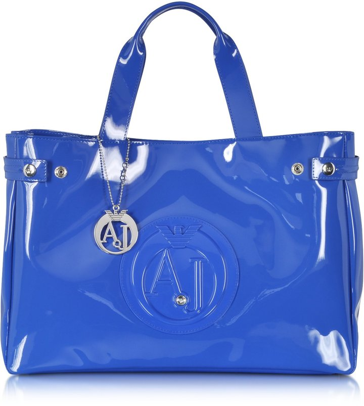 dc4fe2f4cfe6 ... Bags Armani Jeans Large Faux Patent Leather Tote ...
