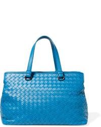 Bottega Veneta Medium Intrecciato Leather Tote Blue