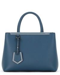 Fendi Petite 2jours Leather Shopper Blue