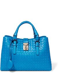 Bottega Veneta Roma Small Intrecciato Leather Tote Blue