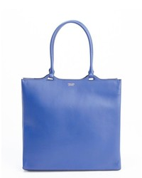 Giorgio Armani Royal Blue Leather Logo Stamp Large Tote