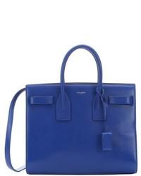 Saint Laurent Royal Blue Leather Small Sac De Jour Convertible Tote