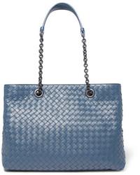 Bottega Veneta Shopper Large Intrecciato Leather Tote Blue