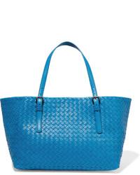 Bottega Veneta Shopper Medium Intrecciato Leather Tote Blue
