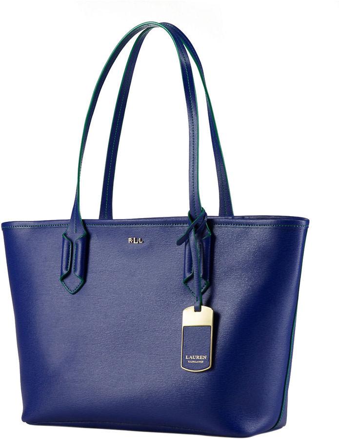 0247d41da2d6 ... Blue Leather Tote Bags Lauren Ralph Lauren Tate Leather Shopper ...