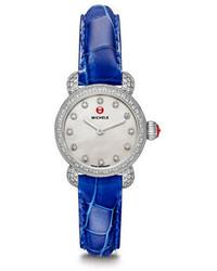 Michele 12mm Alligator Watch Strap Blue