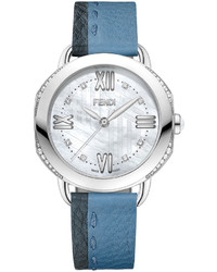 36mm selleria leather strap watch blue medium 533171