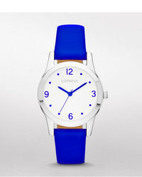 Express Analog Leather Strap Watch Neon Blue