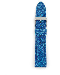 Leather 20mm watch strap blue medium 48296