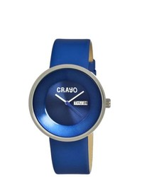 Other Crayo Button Blue Leather Strap Analog Watch
