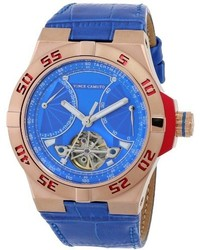 Vince Camuto Vc1049blrg The Master Automatic Rose Gold Tone Multi Function Blue Leather Strap Watch