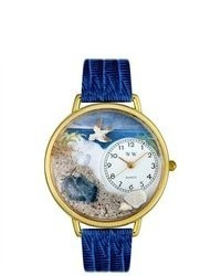 Whimsical Footprints Theme Royal Blue Leather Watch