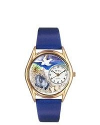 Whimsical Watches Footprints Royal Blue Leather And Gold Tone Watch
