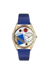 Whimsical Watches History Teacher Royal Blue Leather And Gold Tone Watch