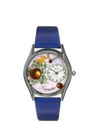Whimsical Watches November Royal Blue Leather And Silvertone Watch In Silver