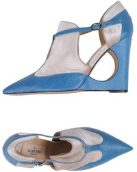 Blue Leather Wedge Pumps