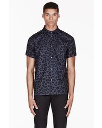 Blue london leopard print shirt medium 8984