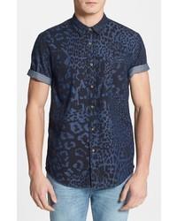 Classic fit mixed leopard print short sleeve denim shirt medium 8983