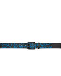 Paul Smith Blue Leopard Print Belt