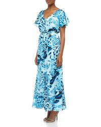 Ruffled swirling leopard print maxi dress blue beret medium 61199