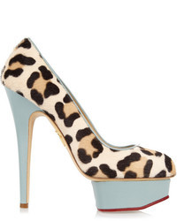 Charlotte Olympia Polly Calf Hair And Leather Pumps