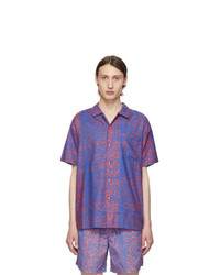 DOUBLE RAINBOUU Blue And Red Discotheque Hawaiian Shirt