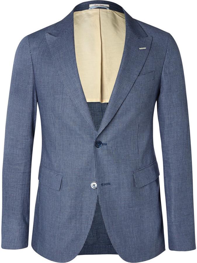 78e62c08bf0a5 $675, Gant Rugger Navy Checked Linen And Cotton Blend Blazer