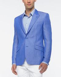 Versace Collection Linen Blend Sport Coat Blue