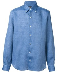 Blue Linen Long Sleeve Shirt