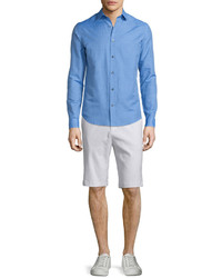 Vince Linen Blend Long Sleeve Sport Shirt French Blue