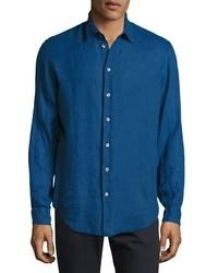Armani Collezioni Linen Sport Shirt Electric Blue