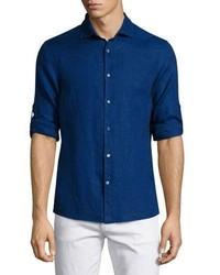 Michael Kors Michl Kors Linen Roll Tab Sport Shirt Blue
