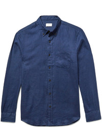 Club Monaco Slim Fit Button Down Collar Slub Linen Shirt