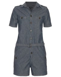 A.P.C. Jane Cotton And Linen Blend Chambray Playsuit